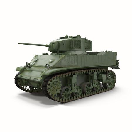top gun: Model M3 Stuart light tank isolated on white background 3D Illustration
