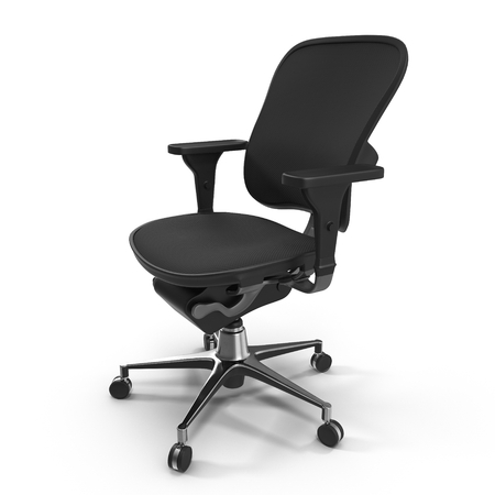 single seat: Black office chair isolated on white background 3D Illustration