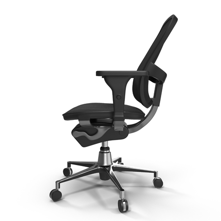 easy chair: Black office chair isolated on white background 3D Illustration