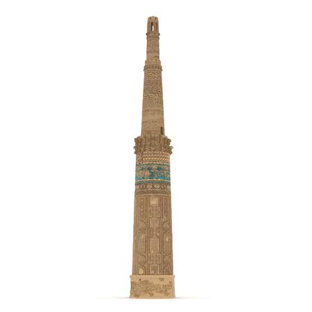 minaret: Minaret of Jam Afghanistan on White Background 3D Illustration Stock Photo