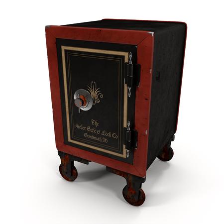 wheeled: Old Wheeled Red Safe Isolated on White Background 3D Illustration