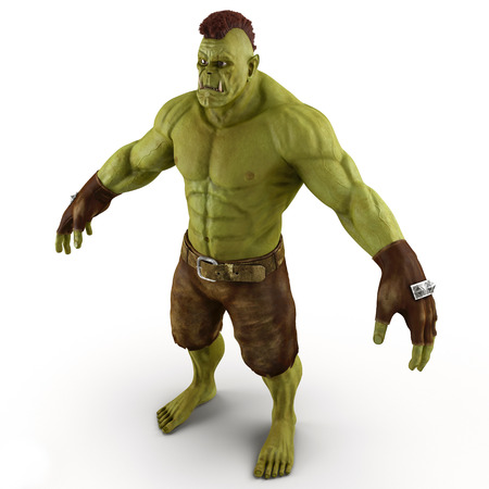 monstrous: Green Orc Isolated on White Background 3D Illustration Stock Photo