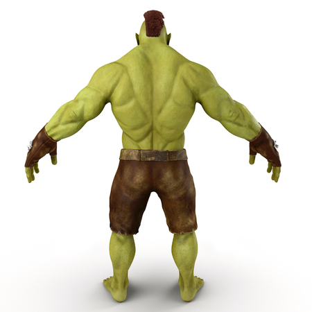 Green Orc Isolated on White Background 3D Illustration Imagens