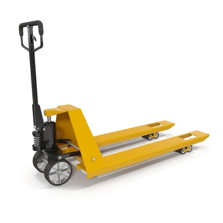 lifting jack: Pallet jack isolated on white background 3D Illustration