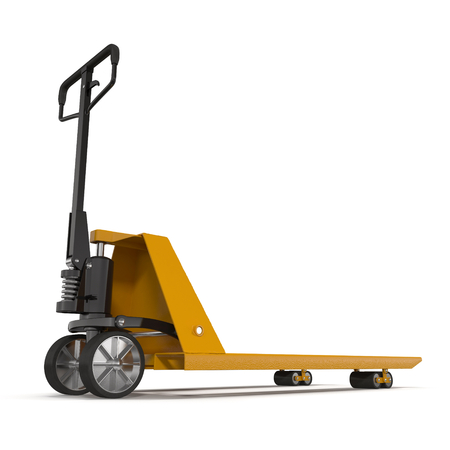 shifting: Pallet jack isolated on white background 3D Illustration