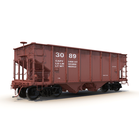 hopper: Railway Hopper Car on White Background 3D Illustration Stock Photo