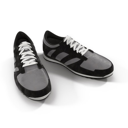 Running Shoes on White Background 3D Illustration
