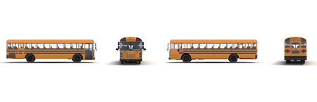 schoolbus: Traditional yellow schoolbus isolated on white background 3D Illustration Stock Photo