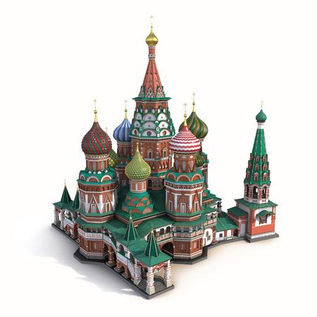 basil's: Saint Basils Cathedral on White Background 3D Illustration