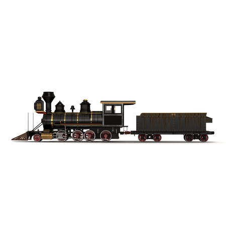 forceful: Steam train on a white background 3D Illustration