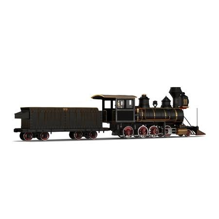 Steam train on a white background 3D Illustration