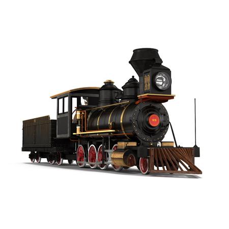 蒸気機関車、白背景の 3 D 図 写真素材