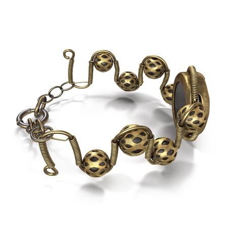 bracelet: Steampunk Jewelry Bracelet Isolated on White Background 3D Illustration