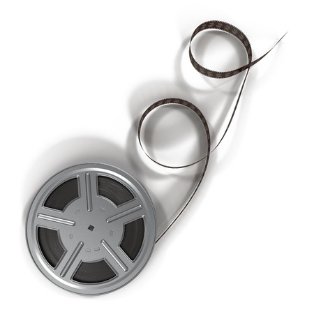 movie film: Retro movie film reel on white background 3D Illustration