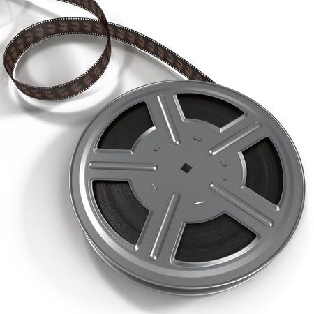 rarity: Retro movie film reel on white background 3D Illustration