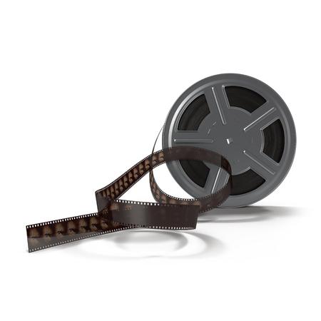 35mm film motion picture camera: Retro movie film reel on white background 3D Illustration