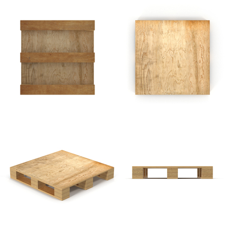 euro pallet: Wooden pallet. Isolated on white background. 3D illustration Stock Photo