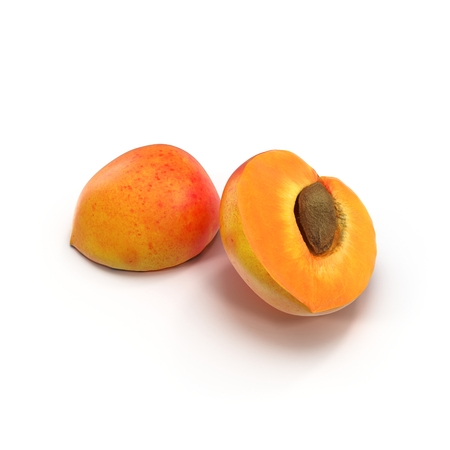 apricot kernels: Ripe apricots cross section with seed on white background 3D Illustration