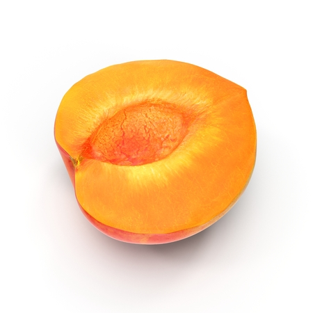 apricot kernels: Ripe apricots cross section on white background 3D Illustration