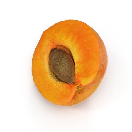 apricots: Ripe apricots cross section with seed on white background 3D Illustration