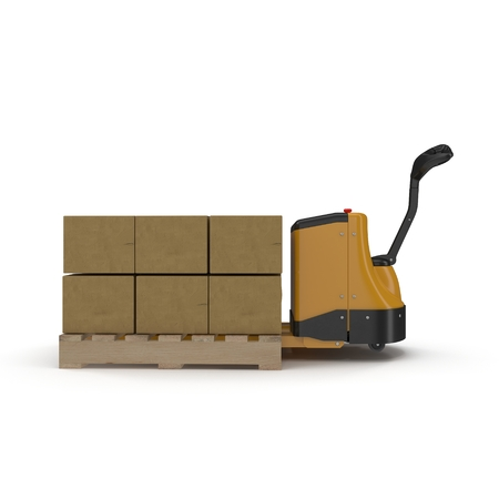 pallet truck: Cardboard Boxes on Powered Pallet Truck Isolated on White Background 3D Illustration