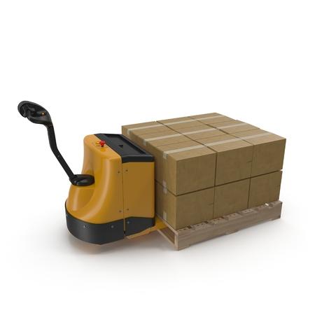 Scatole di cartone sulla alimentato camion pallet isolato su sfondo bianco illustrazione 3D Archivio Fotografico