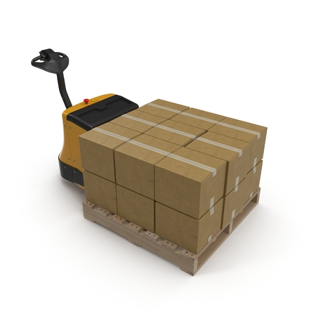 powered: Cardboard Boxes on Powered Pallet Truck Isolated on White Background 3D Illustration