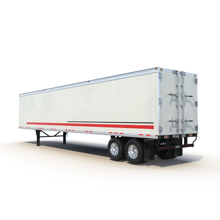 parked: Blank white parked semi trailer, isolated on white background 3D Illustration Stock Photo