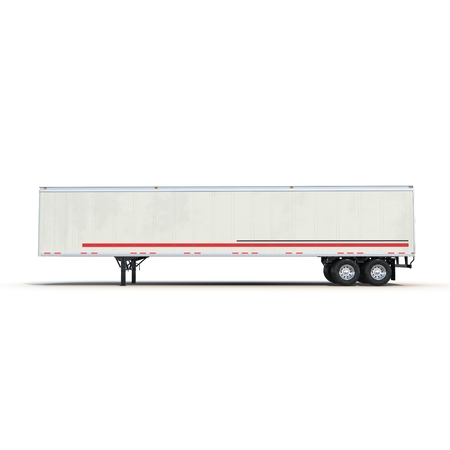 trucker: Blank white parked semi trailer, isolated on white background 3D Illustration Stock Photo