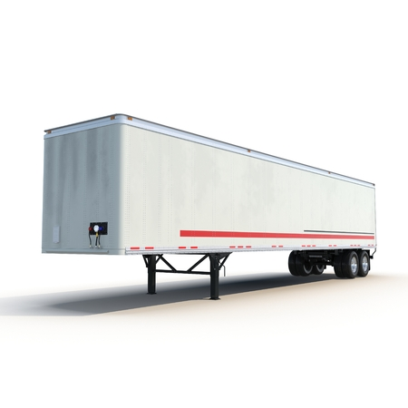 semitrailer: Blank white parked semi trailer, isolated on white background 3D Illustration Stock Photo