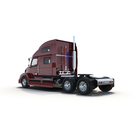 Red truck without a trailer on white background 3D Illustration