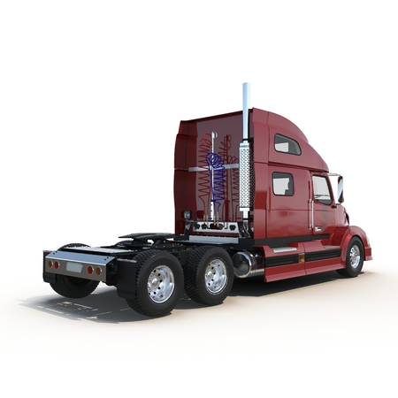 semitruck: Red truck without a trailer on white background 3D Illustration