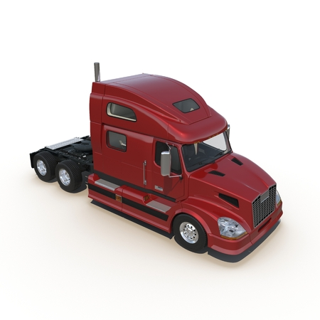 trucker: Red truck without a trailer on white background 3D Illustration