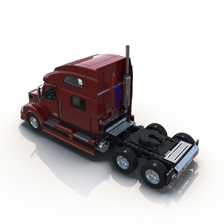semitrailer: Red truck without a trailer on white background 3D Illustration