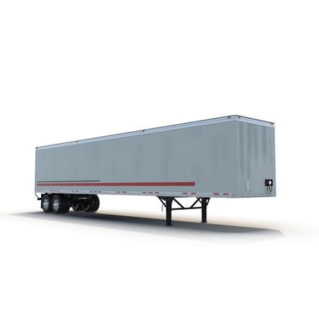 semi trailer: Blank white parked semi trailer, isolated on white background 3D Illustration Stock Photo