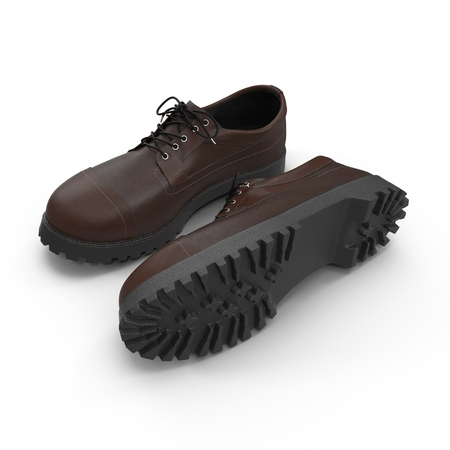 Brown mans shoes isolated on white background 3D Illustration
