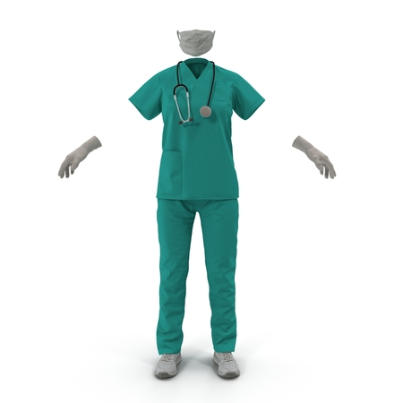 surgeon mask: Female Surgeon Dress isolatedd on white background 3D Illustration