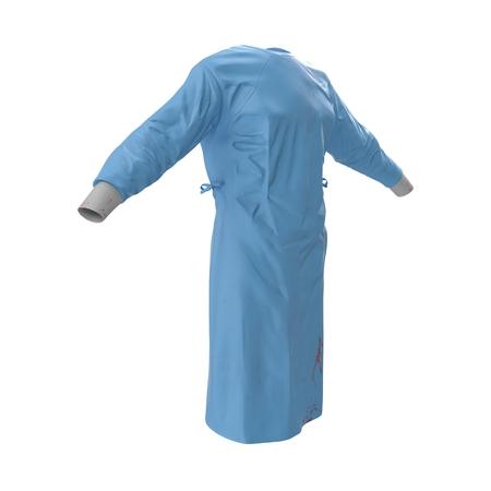 white coat: Doctor lab blue coat isolated on a white background 3D Illustration