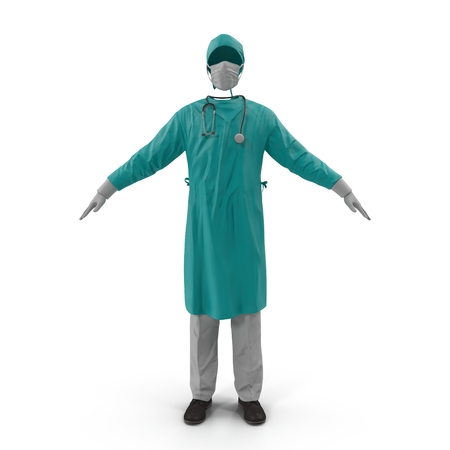 Surgeon Dress isolated on white background 3D Illustration