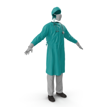 hospital gown: Surgeon Dress isolated on white background 3D Illustration