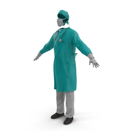 dr: Surgeon Dress isolated on white background 3D Illustration