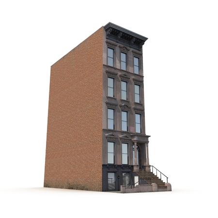House Brownstone on White Background 3D Illustration Stock Photo