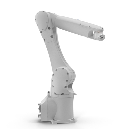 machining: Robot arm for industry isolated on white background 3D Illustration Stock Photo