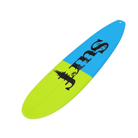 Surfboard isolated on white background 3D Illustration