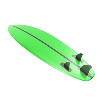 surfboard fin: Surfboard isolated on white background 3D Illustration