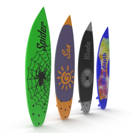 surfboard fin: Set of different color surf boards on white background 3D Illustration Stock Photo