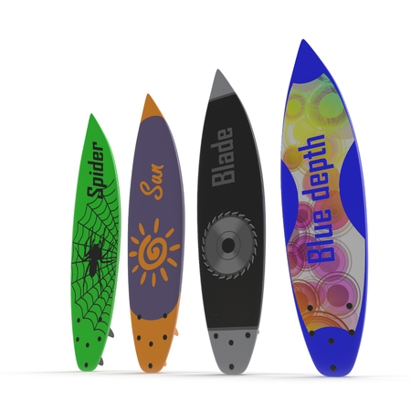 Set of different color surf boards on white background 3D Illustration Stock Photo