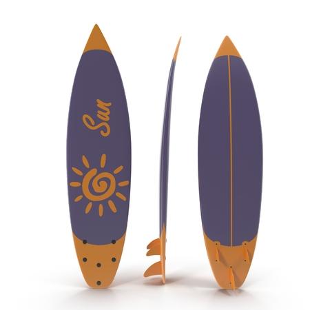 Set of surf boards on white background 3D Illustration