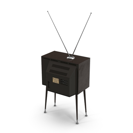 wooden leg: Old TV with legs on white background 3D Illustration