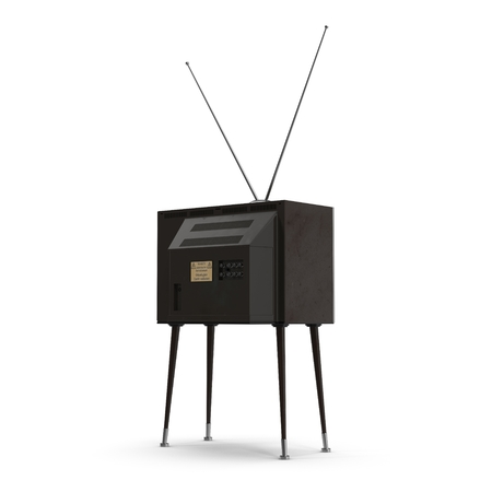 old tv: Old TV with legs on white background 3D Illustration